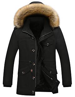billige Plus Størrelser-Herre-Hætte Herre Ensfarvet Frakke