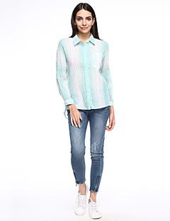 billige Plusstørrelser-Krave Dame - Stribet Bomuld Plusstørrelser Skjorte