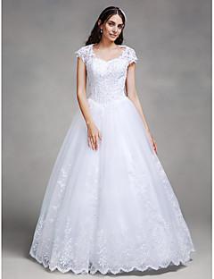billiga Balbrudklänningar-Balklänning Queen Anne Golvlång Spets / Tyll Bröllopsklänningar tillverkade med Bård / Applikationsbroderi av LAN TING BRIDE®