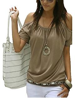 お買い得  オフショルダー-女性用 すかしカット プラスサイズ Tシャツ ストラップ オフショルダー ソリッド コットン
