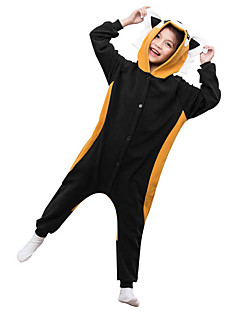 Kigurumi Pyjamas Pesukarhu Kokopuku Yöpuvut Asu Polar Fleece Musta Cosplay varten Lapset Animal Sleepwear Sarjakuva Halloween Festivaali