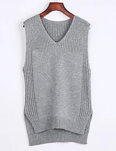 baratos Suéteres de Mulher-Feminino Padrão Pulôver,Casual Simples Sólido Rosa Preto Cinza Decote V Sem Manga Pêlo de Coelho Verão Média Micro-Elástica