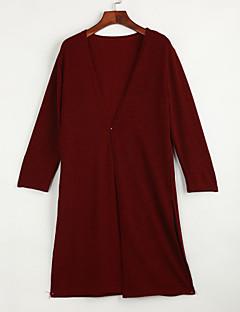 baratos Suéteres de Mulher-Manga Longa Longo Carregam - Sólido / Primavera / Outono