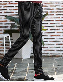 billige Herrebukser og -shorts-Herre Chinoiserie Bomull Tynn Skinny / Chinos Bukser Stripet / Helg