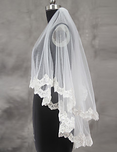 Wedding Veil Two-tier Blusher Veils Fingertip Veils Lace Applique Edge Scalloped Edge Tulle Lace
