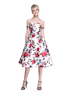 tanie Sukienki kolorowe i wzorzyste-Krój A Z odsłoniętymi ramionami Do kolan Satyna Studniówka Sukienka z Plisy przez TS Couture®