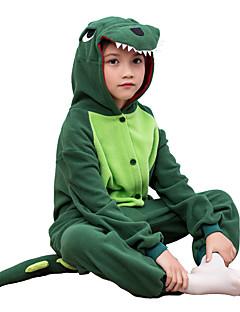 Pijama Kigurumi Dinossauro Pijama Macacão Pijamas Ocasiões Especiais Lã Polar Verde Cosplay Para Criança Pijamas Animais desenho animado