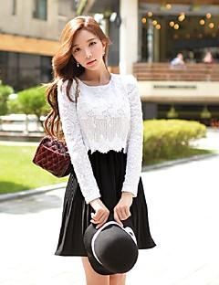 Χαμηλού Κόστους Φορέματα-Γυναικεία Βίντατζ / Εκλεπτυσμένο Γραμμή Α / Θήκη / Swing Φόρεμα - Συνδυασμός Χρωμάτων / Patchwork, Δαντέλα / Κοφτό / Σουρωτά Πάνω από το Γόνατο / Πλισέ
