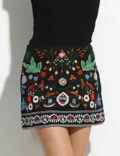 Women's Embroidery High Rise Above Knee Skirts,Street chic A Line Embroidered Print