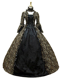 Victorian Rococo Women's One Piece Dress Dark Green Cosplay Lace Cotton Long Sleeves Floor Length