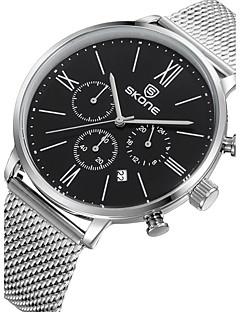 Heren Modieus horloge Kwarts Kalender Waterbestendig Roestvrij staal Band Luxueus Zilver