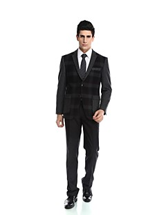 Tuxedos Tailored Fit Peak Single Breasted Two-buttons Rayon(T/R) / Wool & Polyester Blended Solid 2 Pieces Black
