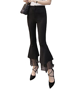 Women's Wide Leg|Ruffle Solid Black Bootcut Pants,Casual / Day