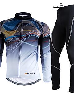 billige Sett med sykkeltrøyer og shorts/bukser-Nuckily Herre Langermet Sykkeljersey med tights Sykkel Klessett, Hold Varm, Ultraviolet Motstandsdyktig, Pustende, 3D Pute