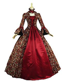 billiga Lolitaklänningar-Gotisk Lolita Klassisk / Traditionell Lolita Rokoko Victoriansk Vintage-inspirerad Spets Dam Klänningar Cosplay Röd Blommig Långärmad Golvlång Lång längd Kostymer