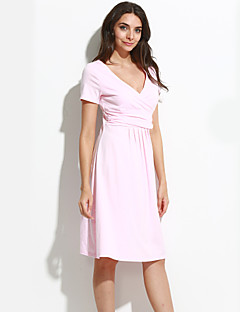 tanie Sukienki-Luźna Spódnica Sukienka - Jendolity kolor, Plisy W serek