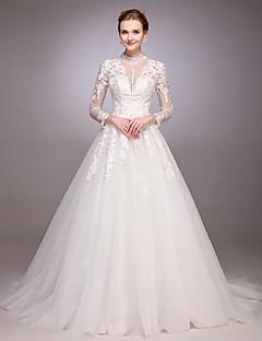 Uma linha de princesa jóia arco do pescoço trem vestido de casamento de tule com botão beading por drrs