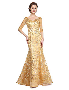 Mermaid / Trumpet V-neck Floor Length Sequined Mother of the Bride Dress with Sequins Pleats by LAN TING BRIDE®