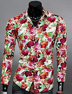 Heren Eenvoudig Street chic Lente Herfst Overhemd,Uitgaan Casual/Dagelijks Werk Bloemen Klassieke boord Lange mouw Blauw Zwart GeelKatoen