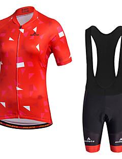 billige Sykkelklær-Miloto Dame Kortermet Sykkeljersey med bib-shorts Sykkel Shorts Sykkelshorts Med Seler Tights Med Seler Jersey, 3D Pute, Fort Tørring,