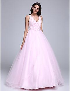 נשף צווארון וי עד הריצפה טול ערב רישמי שמלה עם חרוזים פרח(ים) על ידי TS Couture®