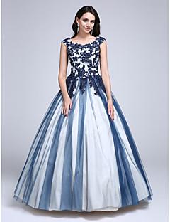 billige Mønstrede og ensfargede kjoler-Ballkjole Prinsesse Scoop Neck Gulvlang Lace Over Tulle Skoleball Kjole med Perlearbeid Appliqué av TS Couture®
