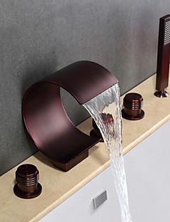 billige Foss-Badekarskran - Moderne Olje-gnidd Bronse Badekar Og Dusj Keramisk Ventil