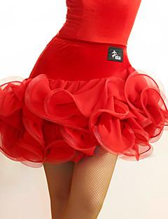 tanie Stroje do tańca latino-Taniec latynoamerykański Tutus i spódnice Damskie Wydajność Tiul Aksamit Marszczenia Naturalny Spódnica