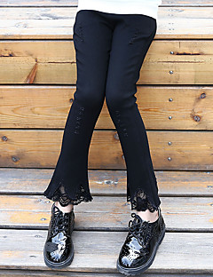 Girls' Daily Going out Holiday Solid Pants,Cotton Spring Fall All Seasons Lace Black