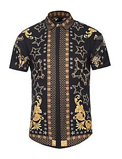 남성 프린트 셔츠 카라 짧은 소매 셔츠,스트리트 쉬크 액티브 펑크 & 고딕 파티 캐쥬얼/데일리 클럽 폴리에스테르 여름