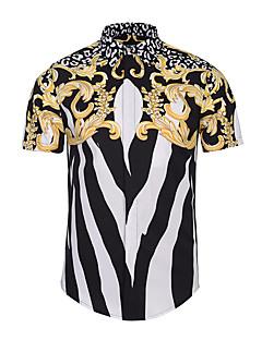 メンズ カジュアル/普段着 夏 シャツ,シンプル シャツカラー プリント ポリエステル 半袖