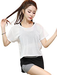 billige Løbetøj-Dame Løbe-T-shirt Kortærmet Hurtigtørrende, Åndbart Toppe for Yoga / Træning & Fitness / Løb Modal, Polyester, Mesh Hvid / Sort M / L / XL