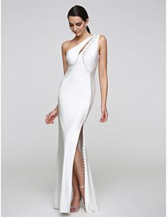 billiga Aftonklänningar-Trumpet / sjöjungfru Enaxlad Golvlång Jersey Formell kväll Klänning med Knappar av TS Couture®