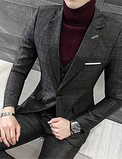 billige Herremote og klær-Bomull Polyester Normal Langt Erme,Skjortekrage Blazer Trykt mønster Vinter Enkel Fritid Fest Arbeid Herre
