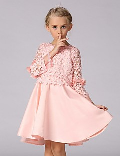 A-Line Knee Length Flower Girl Dress - Organza Long Sleeves Jewel Neck with Lace by YDN