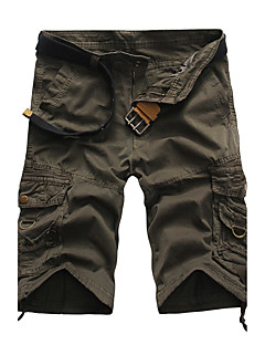 billige Herrebukser og -shorts-Herre Aktiv / Punk & Gotisk Bomull Rett / Shorts Bukser - Kamuflasje Flettet Grønn / Sommer