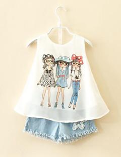 billige Tøjsæt til piger-Pige Tøjsæt Daglig Rayon Polyester Sommer Uden ærmer Tegneserie Hvid