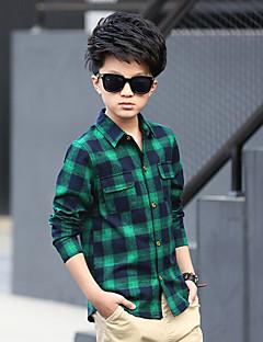 tanie Odzież dla chłopców-Koszula Bawełna Rayon Dla chłopców Codzienny Pled Wiosna Długi rękaw Gray Czerwony Green