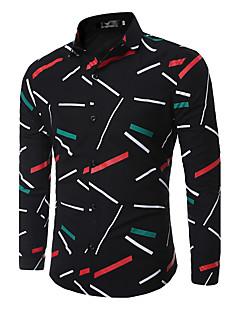 baratos Roupa de Moda de Homem-Homens Camisa Social Moda de Rua Geométrica Algodão Colarinho Clássico Delgado