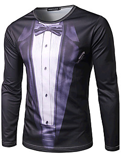 Herren Geometrisch Einfach Aktiv Ausgehen Formal T-shirt,Rundhalsausschnitt Frühling Herbst Langarm Weiß Schwarz Baumwolle Mittel