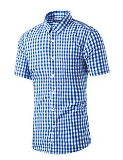 男性 カジュアル/普段着 夏 シャツ,シンプル シャツカラー チェック ブルー レッド コットン 半袖 ミディアム