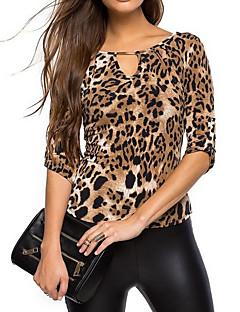 Dames Eenvoudig Alle seizoenen T-shirt,Casual/Dagelijks Luipaard V-hals Lange mouw Zwart Rayon Polyester Dun