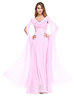 cheap Mother of the Bride Dresses-A-Line Jewel Neck Floor Length Chiffon Mother of the Bride Dress with Beading by LAN TING BRIDE®