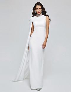 מעטפת \ עמוד צווארון גבוה עד הריצפה שיפון ערב רישמי שמלה עם קפלים על ידי TS Couture®