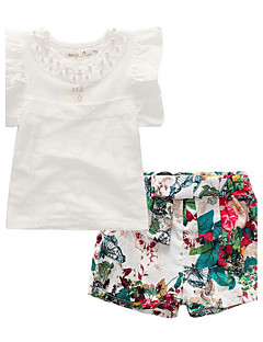 cheap Girls' Clothing Sets-Girls' Daily Clothing Set, Cotton Polyester Summer Short Sleeves Floral Ruffle White