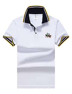 Daily Sports Beach Casual Active Street chic Summer Polo,Solid Shirt Collar Short Sleeves Cotton Spandex Medium