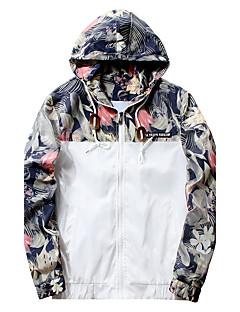 お買い得  メンズジャケット&コート-男性用 プラスサイズ ジャケット - 活発的 ストリートファッション フード付き ソリッド フラワー カモフラージュ