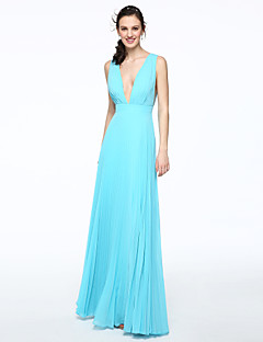 A-Line V-neck Floor Length Chiffon Bridesmaid Dress with Pleats by LAN TING BRIDE®
