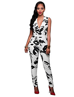 Daily Street chic Print Deep V Jumpsuits,Slim Sleeveless Summer Polyester