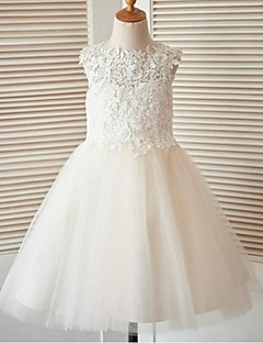 A-Line Knee Length Flower Girl Dress - Lace Tulle Sleeveless Jewel Neck with Buttons Lace by LAN TING BRIDE®